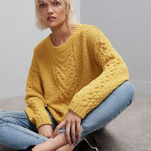NEW PRIMARK  Mustard cable knit jumper  L